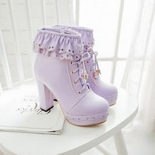 New Autumn & Winter Lolita boots Koren preppy style lace women boots ankle single naked boots princess shoes size 4-10.5(China (Mainland))