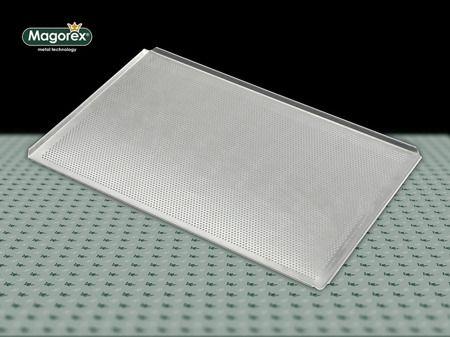 MAGOREX blachy piekarnicze aluminiowe, perforowane 3 mm, 4 rantowe, rant 45°, bez powłoki.