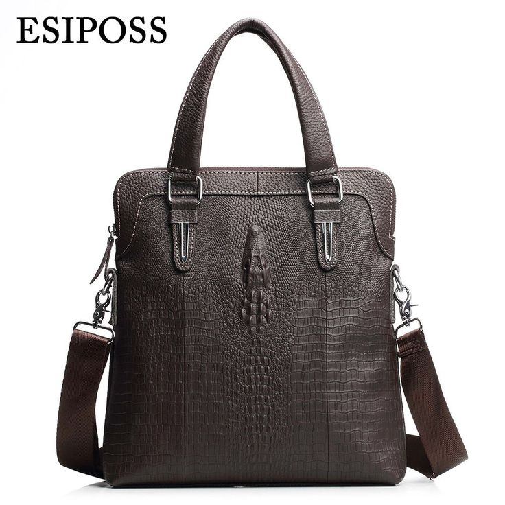 ESIPOSS Real Cow Leather Men Handbags High Quality Crocodile Pattern Men's Casual Totes New Fashion Male Crossbody Shoulder Bag Thailand -- AliExpress Affiliate's Pin. Find similar products by clicking the image