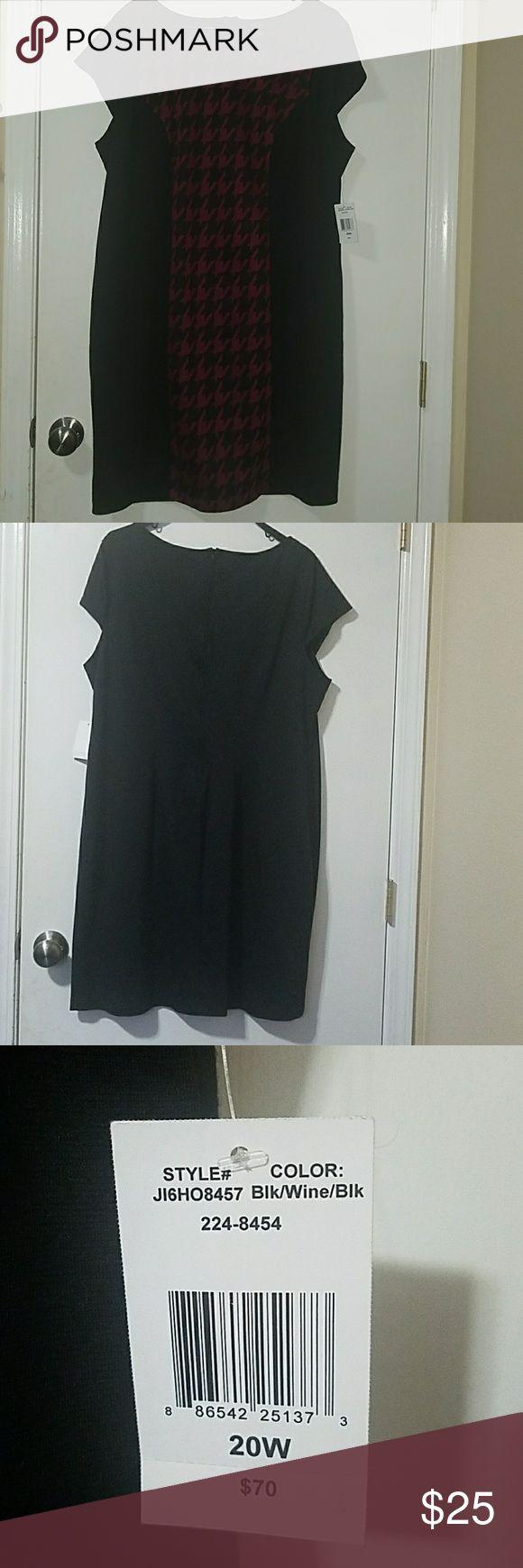 Woman's dress Black/Wine/Black dress size 20W New with tags. B. Smart Woman Dresses