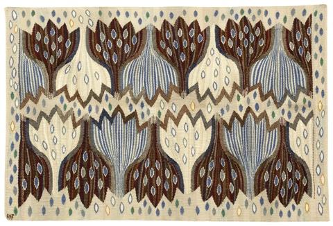 'crocus, blå' (crocus, blue), woven textile, tapestry, ann-mari forsberg, 1945
