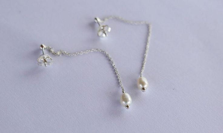 Dangling pearl Earrings #pearls #weddingjewellery #chainearrings #silver #elegant #handamade #southafrican