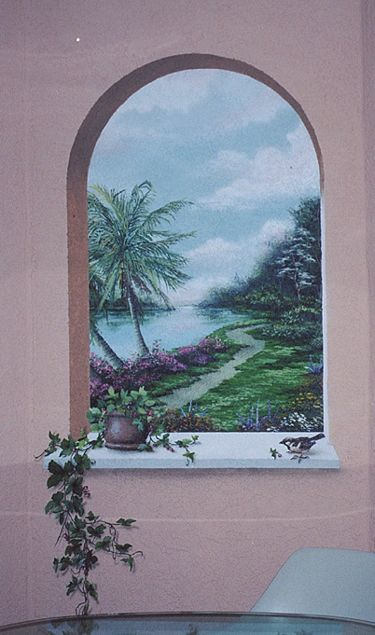 a simple backyard nature mural can become a trompe l 39 oeil piece of art by adding a trompe arched. Black Bedroom Furniture Sets. Home Design Ideas