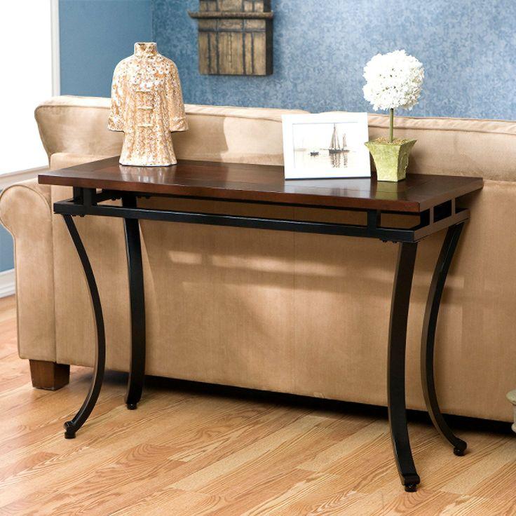 Attractive FurnitureMaxx Accent Sofa Table , Black Metal With Espresso Finish Wood Top  : Console U0026 Sofa