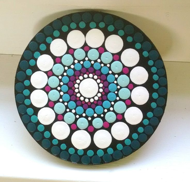 Dot Art Mandala Mini Painting ~ Original Art ~ Colorful Rings ~Wood Circle ~ Home Decor~ Turquoise Magenta Teal ~ Gift Ideas by P4MirandaPitrone on Etsy