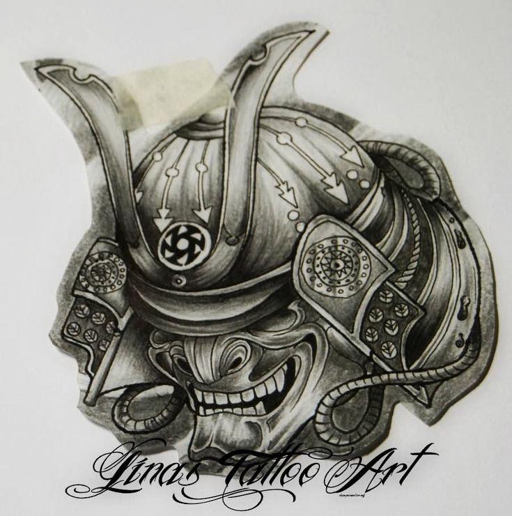 Grey Ink Samurai Helmet Tattoo Design