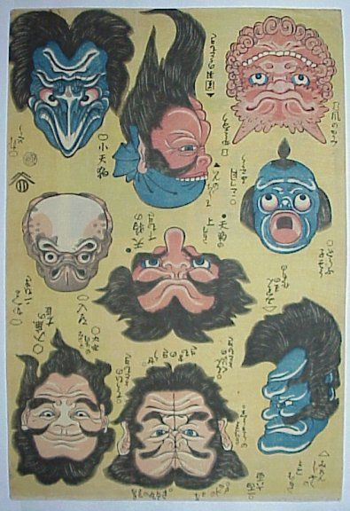 Ue-shita-e by Ichiyusai Kuniyoshi. Depicts various faces including a frog…