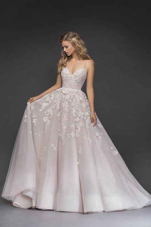 Romantic Floral Light Pink Wedding Dress,Spaghetti Straps Bridal Dress Wedding G…