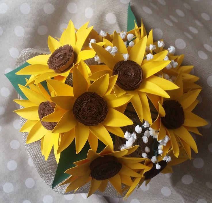 Bouquet carta Girasole sposa country di PimpinellaCrea su Etsy