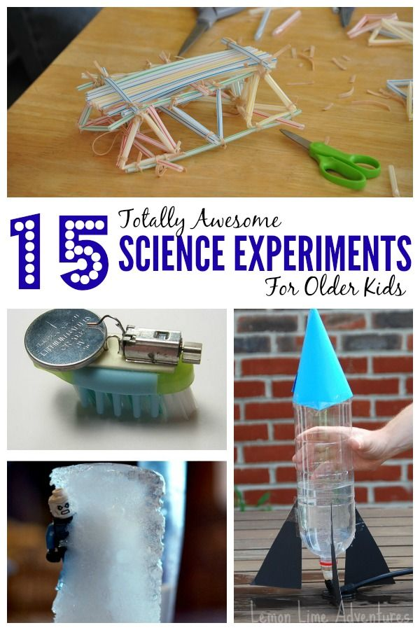 Science can be loads of fun. From creating contraptions and models to learning about the inner-workings of life...science experiments meant for older kids.