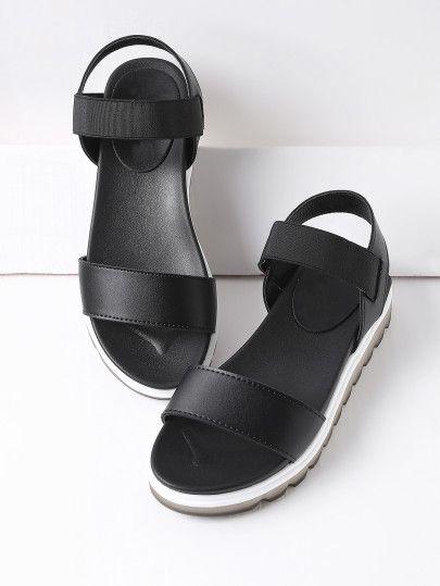 Black Contrast Sole Flatform Sandals