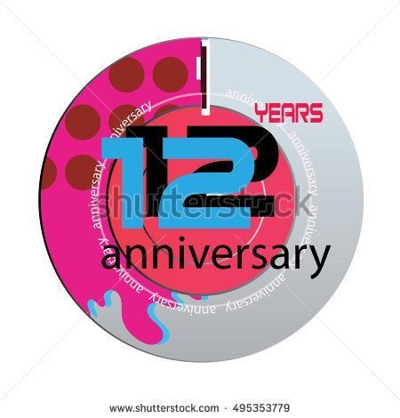12 years anniversary logo with pink color disc. anniversary logo for birthday, wedding, celebration and party