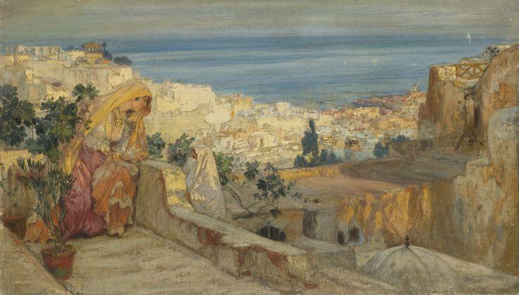 Peinture Algérie - Frederick Arthur Bridgman - Arab women on a rooftop, Agiers beyond.