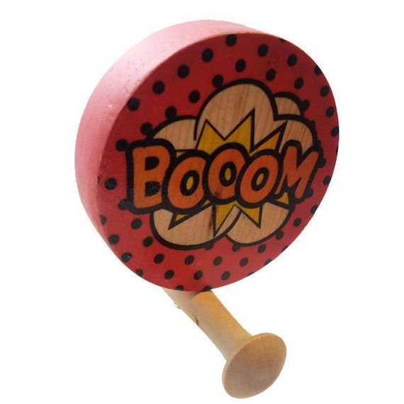 Wooden Wall Hook / Round wall hook / Comic strip by WoodpileGems. £15.00