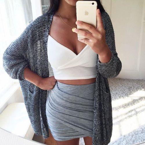 crop top » asymmetrial skirt » knit cardigan » @thanyaw