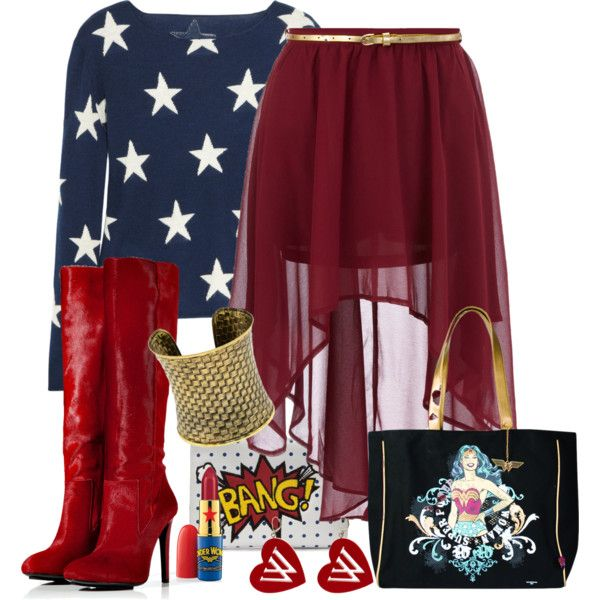 """""""Wonder Woman"""" by helenrosemay on Polyvore. I love the sweat shirt and boots I would like the skirt if it was longer"""