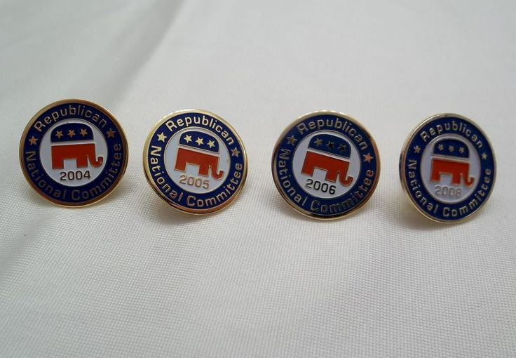 Four Republican National Committee Lapel Pins 2004 2005 2006 2008