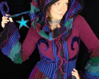 This is a colorful ebook to teach people how they can go about making their own Katwise style Elf Coat. This listing is for a DIGITAL FILE that will be sent to you VIA ETSY MESSAGE within 24 hours.  This is not a listing for an actual sweater. If you want one of my sweater creations, please read below for details.  Katwise sweaters have inspired quite a little trend here on Etsy.These sweaters are an extension of my charmed and colorful life, and I feel so blessed to be able to share it…