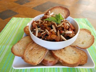 Eggplant Caponata by Robin Miller.  An easy and healthy dip recipe - I had all the ingredients at home except the eggplant.  It was a hit at the potluck party!