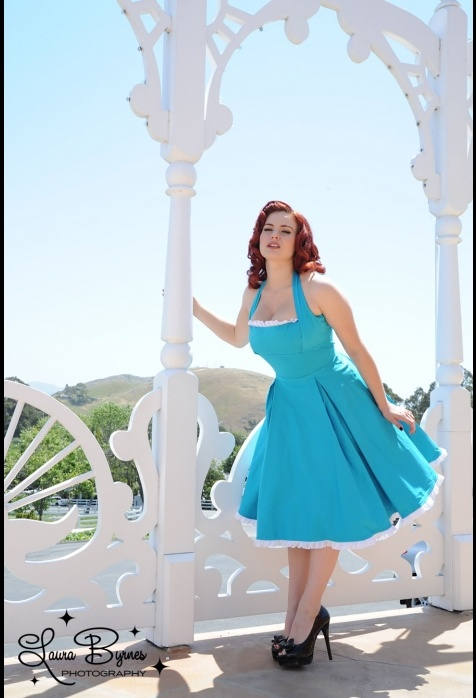 The Ginger Dress in Ocean Blue with White Eyelet Ruffle from Pinup Couture