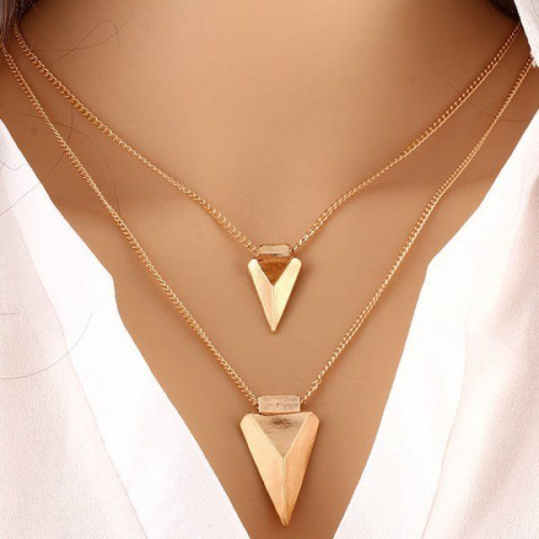 Alloy Triangle Pendant V-Shaped Layered Necklace