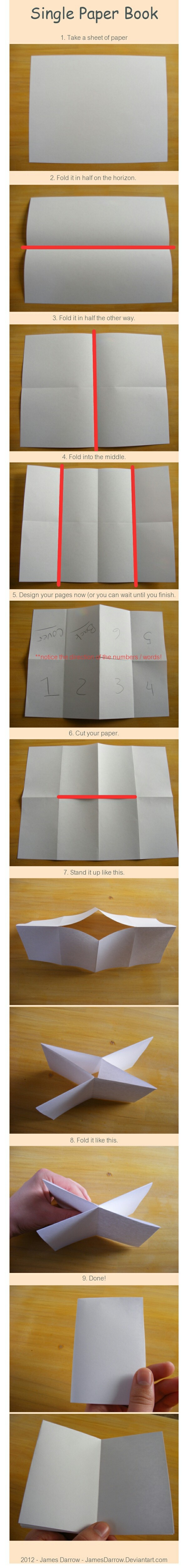 How to make a book with one piece of paper. Could use these with your passport cover. Use the large size Manila paper.