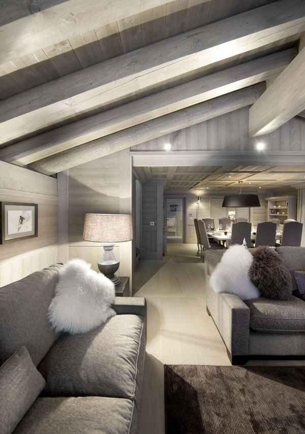 Living Room Chalet By Philippe CapezzoneGrey Interiors, Pearls, Livingroom, Beams, Living Room, White, French Alps, Ski Chalets, Design