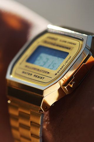 gold face gold watch - casio