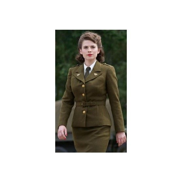 Captain America Agent Margaret Peggy Carter Dress Jacket Cosplay... ❤ liked on Polyvore featuring costumes, cosplay halloween costumes, captain america halloween costume, captain america cosplay costume, role play costumes and captain america costume