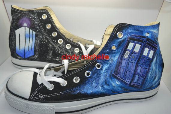 Custom Converse Doctor Who Converse shoes hand painted on Converse all star shoes sneaker great gift  on converse on Etsy, $95.00