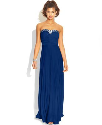 B Darlin Juniors' Pleated Embellished Gown, A Macy's Exclusive