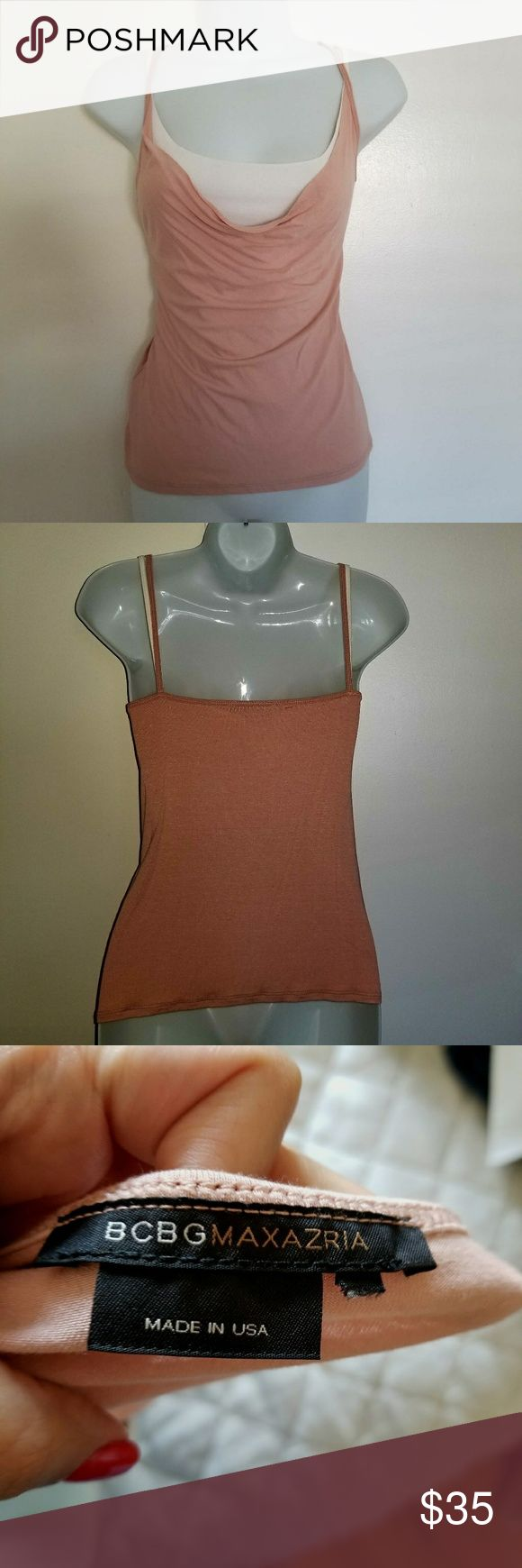 BCBG Max Azria 2Fer Pink/White Camisole, Size L This is such a simple, yet adorable top that would look good for any occasion.  It's almost two tops in one!  Lovely shade of neutral pink, it's a cowl neck cami, with a white camisole cover underneath.  Both strap colors show, which gives the top a really cute look.    PLEASE NOTE: The size tag was accidentally cut off when I snipped of the price tag, but this is a large!! I'm selling my own. Clothes, and I always wear either a large or medium…