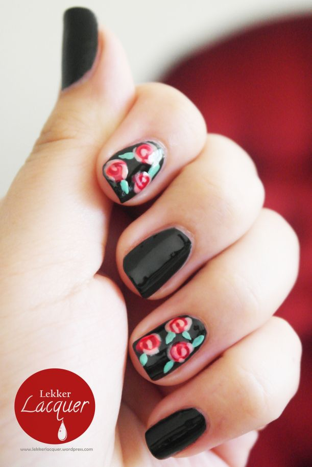 Katy Perry inspired nails - roses on black