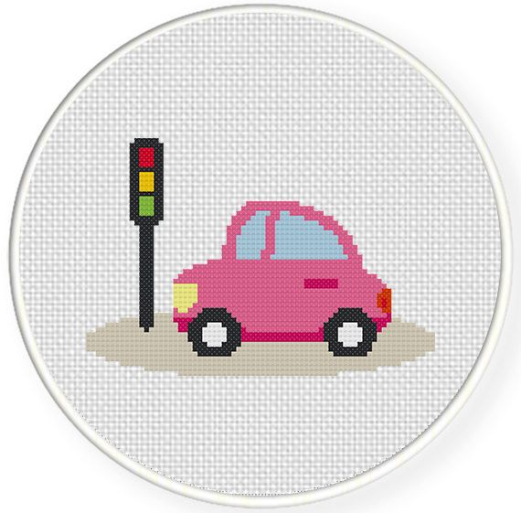 FREE for Jan 30th 2015 Only - Pink Automobile Cross Stitch Pattern