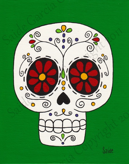 Day of the Dead Red Eyes Skull