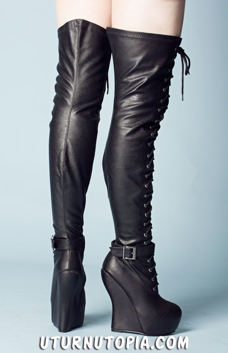 1000  images about Beautiful Thigh High Wedged Boots on Pinterest