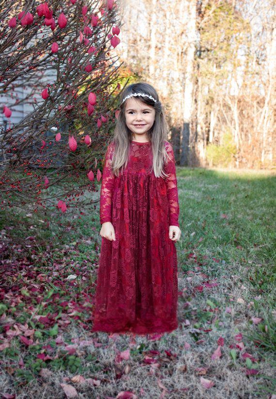 Burgundy, Deep Red Sweetheart Dress- Flower Girl, Wedding, country, rustic dress, fall, winter, red, long sleeve, lace / http://www.deerpearlflowers.com/flower-girl-dresses-shops/