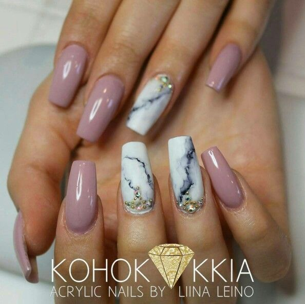 Pin By Tina Kondilas On Marble Effect Coffin Nails
