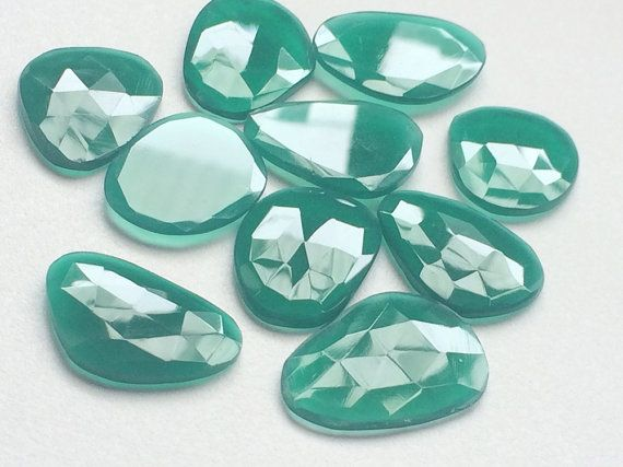 Green Chalcedony Rose Cut Slices Huge Green by gemsforjewels