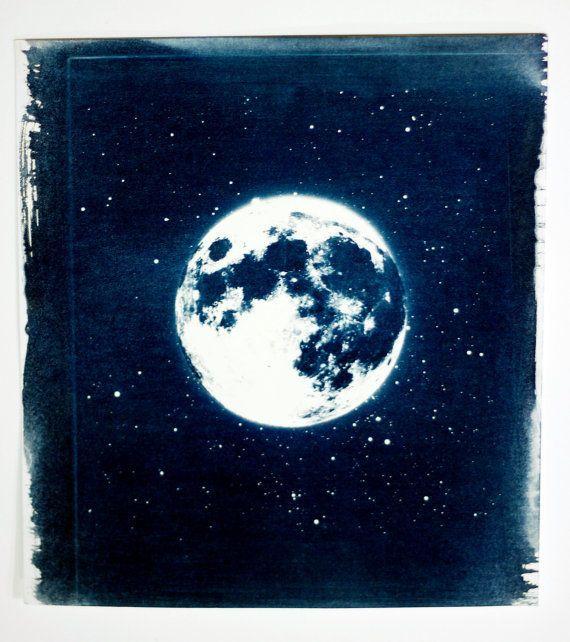 Moonscape handmade cyanotype (original) by Adam Ottavi $100