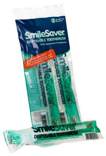"""Cepillo de dientes desechable SmileSaver Paquete 2 uds.(Reciclable) El cepillo de dientes """"Smile Saver"""" se utiliza sin agua y es desechable. El cepillo se suministra listo para su uso con una sola dosis de pasta de dientes almacenada en el interior del mango. Para usarlo, simplemente coger el cepillo por el extremo del mango para que la pasta de dientes que está en su interior se desplace hacia las hebras del cepillo de dientes. No genera espuma. No requiere enjuague."""