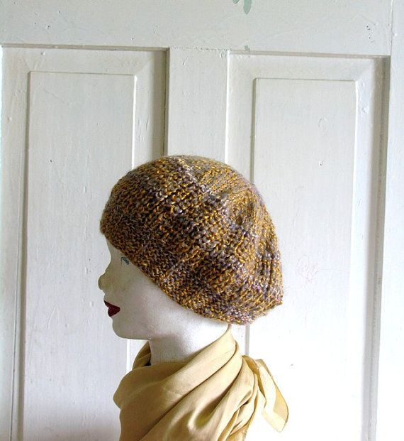 Knitted Slouchy  Bret Oversized  Mustard Beanie by recyclingroom, $25.00