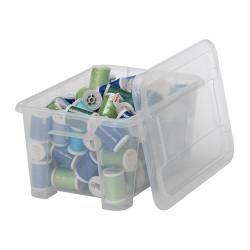 """SAMLA Box with lid - clear, 11x7 ¾x5 ½ """"/169 oz - IKEA this is the smallest size $1.99 each. Up to the largest size (underbid storage size) = $13.00 each. Good for organization."""