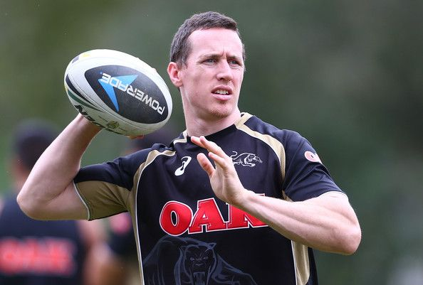 David Simmons passes the ball during a Penrith Panthers NRL training session at Sportingbet Stadium on March 26, 2014 in Sydney, Australia.