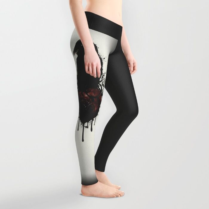 Raven and Heart Grenade Leggings by Nicklas Gustafsson #raven #crow #bird #animal #heart #grenade #heartgrenade #blood #spatter #leggings