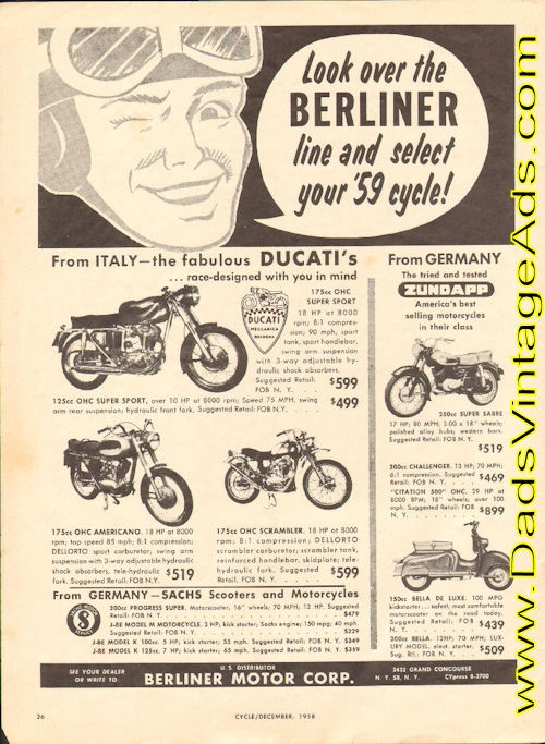1959 Ducati Motorcycle Prices