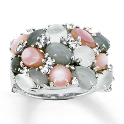 Moonstone & Shell Ring Natural Sapphires Sterling Silver