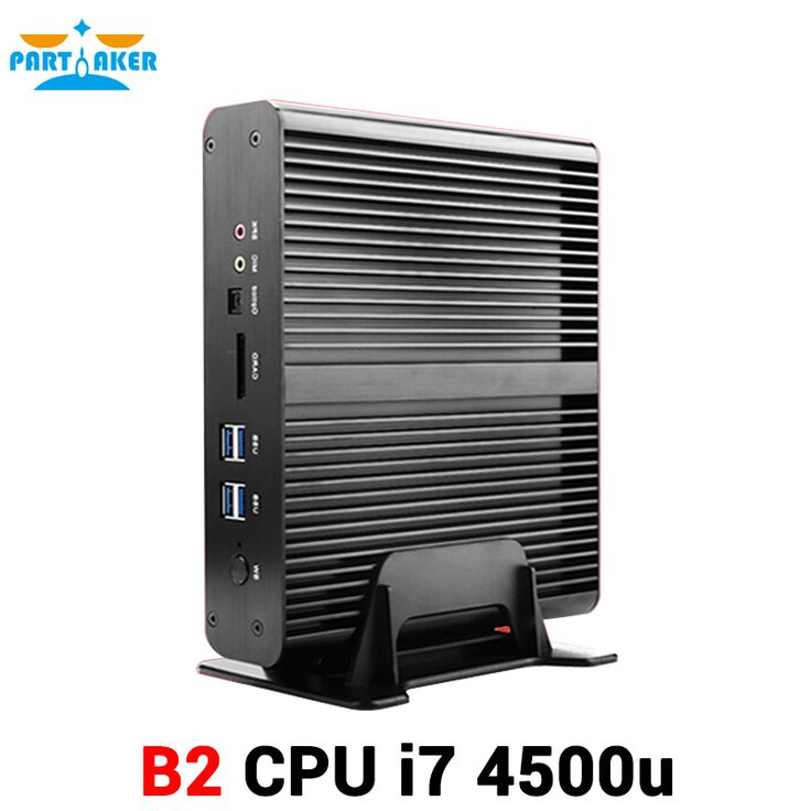 Powerful Fanless Black Intel Core I7 4500U 2 Ethernet Mini PC with 2 HDMI 300M WIFI SD Card Reader Fiber Port