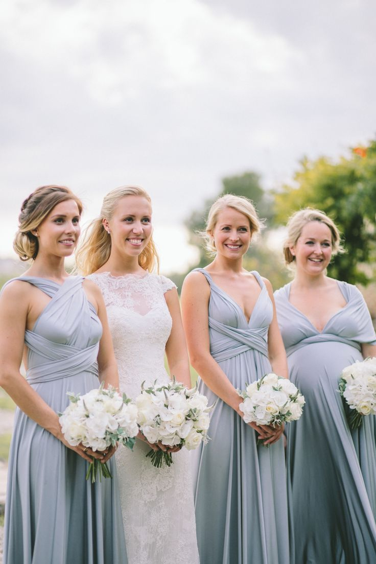 Wedding inspiration from debbiecarlisle.com   Platinum TwoBirds Bridesmaid dresses - Image by  M&J Photography - A destination wedding in Provence with a lace gown and groom in blue suit. White on white colour scheme. Photography by M&J Photography.