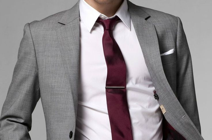 grey suit red tie